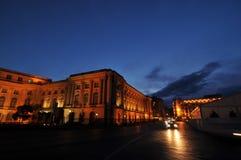 City street at sunset. Sunset on Victoriei Street in Bucharest, Revolution Plazza Stock Image