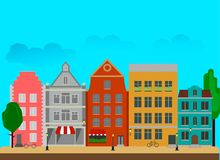 City street with tall buildings made in a flat style. Vector illustration Stock Image