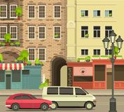City Street. With tall buildings panoramic views and shops on the first floor vector illustration