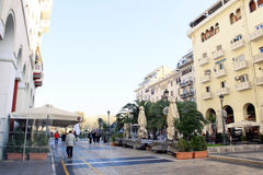 City Street in Thessaloniki, Greece. A view of a pedestrian city street in Thessaloniki, Northern Greece Stock Images