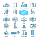 City street thin line icons, pictogram, symbol set. Buildings, architecture. City street thin line icons, pictogram set. Icons, symbol city landscapes Royalty Free Stock Photography