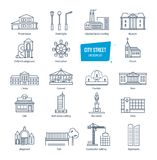 City street line icons set. City landscapes. Buildings, transport, architecture. City street thin line icons, pictogram and symbol set. Icons for city stock illustration