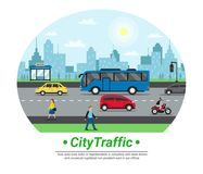City Street Traffic Flat Circle. Icon with car motorcycle bus stop pedestrians and cityscape background vector illustration vector illustration