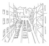 City street traffic jam linear perspective sketch road view. Cars end buildings. Hand drawn vector stock line. Illustration. For coloring Stock Images