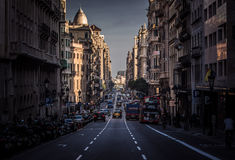 City street under the sunset Royalty Free Stock Images
