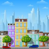 City street with urban buildings. Illustration of City street with urban buildings Stock Photo