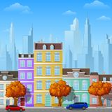 City street with urban buildings. Illustration of City street with urban buildings Stock Photography