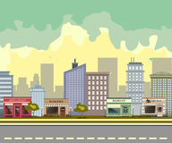 City street with urban buildings and shops. Restaurant, coffee shop, bookshop and bakery in the city stock illustration
