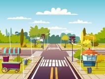 City street vector cartoon illustration of traffic lane crossroad with street food vendor carts on sidewalk. City street sidewalks vector illustration of urban Royalty Free Stock Images
