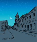City street. Vector drawing Stock Photography