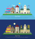 City Street Vector Illustration at Day and Night. Urban city landscape web banners set. Building architecture in unusual fashionable design. Modern town Royalty Free Stock Images