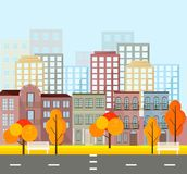 City street view, buildings in autumn season. Vector Mapple leaves backgrounds. City street view, buildings in autumn season. Vector Mapple leaves background Royalty Free Stock Photography