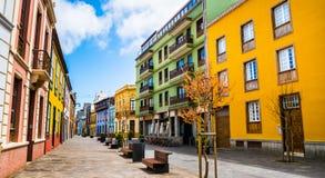 City street view in La Laguna town on Tenerife, Canary Islands.