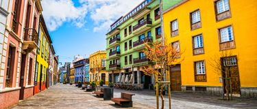 City street view in La Laguna town on Tenerife, Canary Islands. Spain stock photos