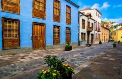 City street view in La Laguna town on Tenerife, Canary Islands. Spain