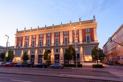City street view at sunset, historic building Royalty Free Stock Photo