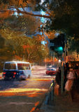 City street view with traffic. Painting of city street view with traffic Royalty Free Stock Photo