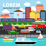 City street view vector illustration. Urban panorama background with river, road and buildings Royalty Free Stock Image