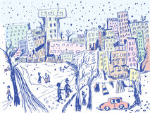 City street in winter - sketch Royalty Free Stock Photo