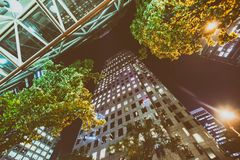 City streets and buildings at night, Vancouver.  Royalty Free Stock Photos