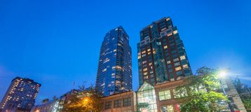 City streets and buildings at night, Vancouver.  Royalty Free Stock Photography