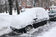 Snowfall in the city. Royalty Free Stock Photography