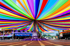 City Streets and Decorated roundabout with multicolored Stock Images