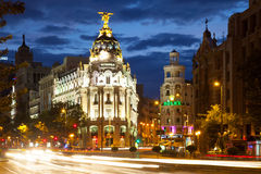 City streets in evening. Madrid, Spain Stock Image