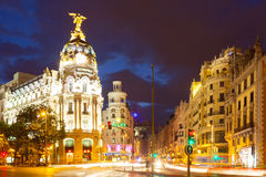 City streets in evening time. Madrid, Spain Stock Images