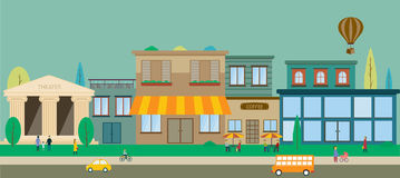 City streets in flat design Royalty Free Stock Photo
