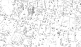 Vector city streets Intersection outline. Buildings and road traffic top view. Gray lines outline contour style. City streets Intersection outline. Buildings and vector illustration