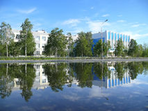 City Streets Nadym river Nadym. Office building on the promenade Stock Images