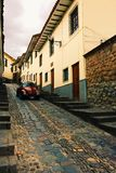 City streets. The narrow stone streets of Cusco Peru Stock Photo