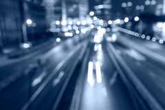 City Streets Night Car Light Track Stock Image