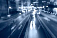 City streets  night  car light track Stock Image