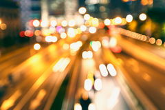 City streets  night  car light track Royalty Free Stock Images
