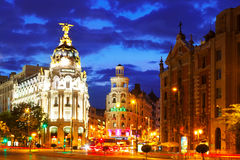 City streets in night time. Madrid, Spain Royalty Free Stock Photo