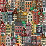 City streets with old buildings, seamless pattern Stock Photography