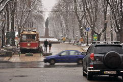 City streets and park, rain and snow, the couple Stock Photography