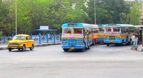 Indian vehicles on the city street in Kolkata, India Royalty Free Stock Photo