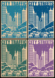 City streets retro posters Royalty Free Stock Image