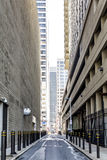City streets and skyscrappers Royalty Free Stock Photography