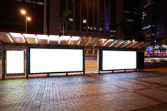 City streetscape backgrounds advertisement lightboxes of night s Stock Photo