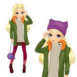 City Style Blonde Girl In Greeen Coat. Vector illustration of fashion blonde girl in green coat and purple hat hold small bag Royalty Free Stock Photo