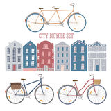 City style colorful cycles and houses set Stock Photos