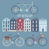 City style colorful cycles and houses set Royalty Free Stock Photography