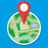 City suburban circle map with marker Stock Photo