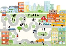 City and suburbs illustration Stock Photography