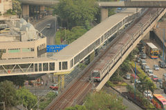City subway system cross by kowloon bay Stock Images