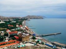 City of Sudak in the Crimea on the black sea Stock Photo